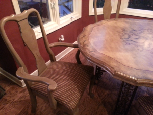 "Freshly painted (Annie Sloan ""Coco"" Chalk Paint) in a Country French style"