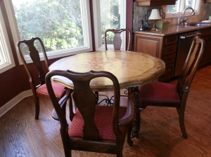 Queen Anne style cherry wood chairs purchased in 1986
