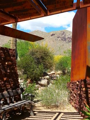 Sonoran desert landscape, Santa Catalina Mountain in distance